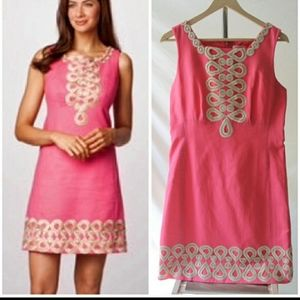 Lilly Pulitzer Adelson Shift Dress Pink Gold Sz 10